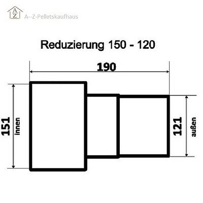 Rauchrohr Reduzierung Erweiterung schwarz / grau 100 120 130 140 150 180 200