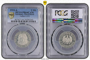 Tercer Imperio 2 Marco Luther J. 352 1933A Pp PCGS Pr 64 Cam (47704)
