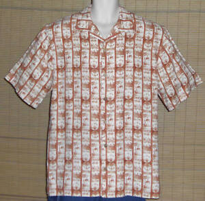 PUSSER-039-S-Island-Style-Hawaiian-Shirt-Block-Print-White-Orange-Size-Medium