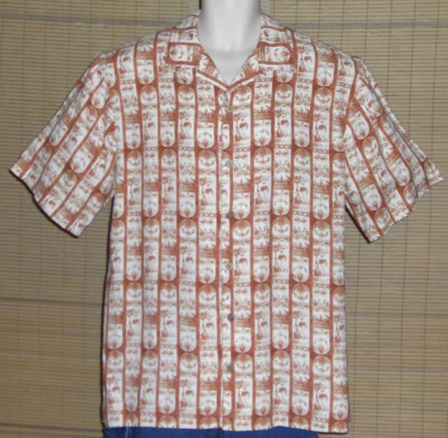 PUSSER'S Island Style Hawaiian Shirt Block Print White Orange Size Medium