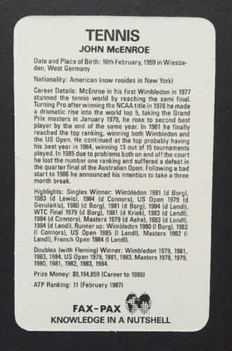 1986 FAX PAX TENNIS 20 Set Factory Case Chris Evert John McEnroe Graf Connors