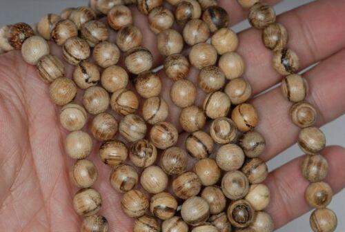 8mm 108PCS Vietnam White Qinan Sandalwood Light Fragrance Mala Beads Round