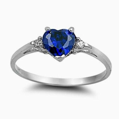 USA vendeur Coeur Anneau Argent Sterling 925 Best Bijoux Saphir Bleu Zircone cubique Taille 7