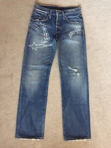 Levi-s-Selvedge-Jeans-Sz-27-Faded-Distressed-Labeled-Turquoise-Rivet-Back-Strap