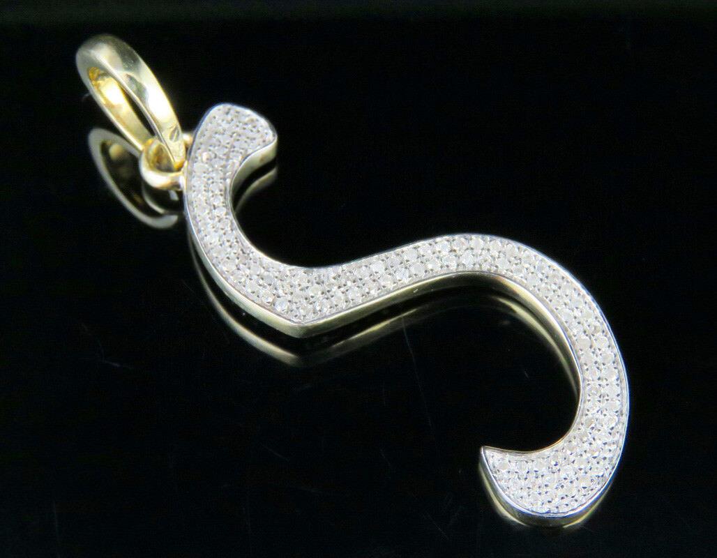 Unisex Vero Vero Vero 10K oro Giallo Diamante LETTERA S Ciondolo con Iniziale 1 2 Kt 4.1cm 17042e