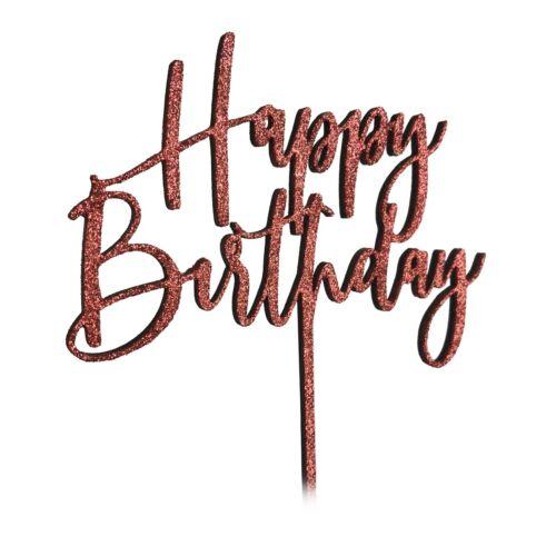 Happy Birthday Cake Topper Glitter 13 18 21 30th 40th 50th 5oth 60th Rose Gold
