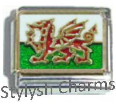 WALES WELSH FLAG Ceramic Italian Charm 9mm - 1 x PQ057 Single Bracelet Link