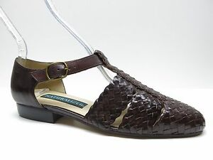 Naturalizer Ariel Brown Woven Leather T Strap Sandals 7N 7 Narrow MSRP .