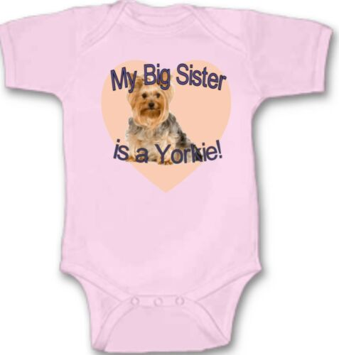My Big Sister is a Yorkie Baby Bodysuit Cute New Gift Choose Size /& Color