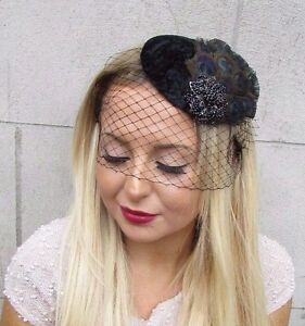 Black Peacock Feather Birdcage Veil Feather Fascinator Hat Hair Vtg Races 2586