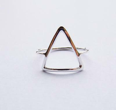 925 Sterling Silver Simple Geometrical Triangle Stack Midi Ring Sizes 4-10