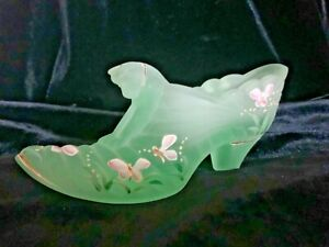 Fenton Hand Painted Glass Slipper
