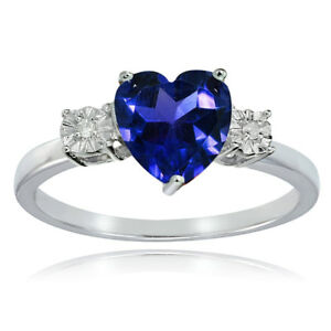 Sterling-Silver-Created-Blue-Sapphire-and-Diamond-Accent-Heart-Ring