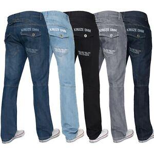 Mens-Regular-Fit-Jeans-Straight-Leg-Denim-Trousers-Pants-All-Waist-28-50-Kruze