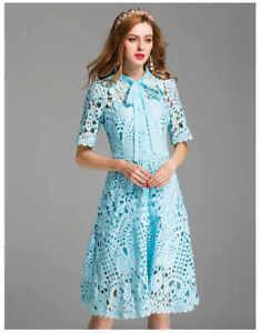 Details About Light Blue Lace Dress Short Sleeve Cut Out Pattern Spring Summer 2019 Fr Ship 10