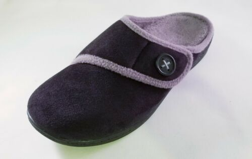 Orthaheel by Vionic Shawn Orthotic Slipper with Button Detail Black