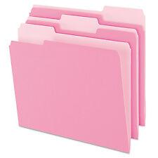 Pendaflex Colored File Folders 1/3 Cut Top Tab Letter Pink/Light Pink 100/Box
