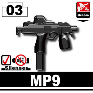 W189 SG19 Black 9mm Pistol compatible with toy brick minifigures Army SWAT