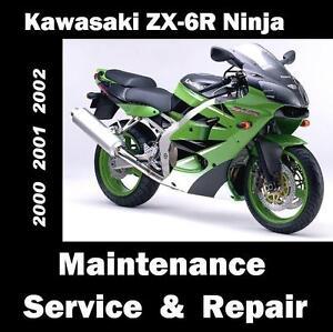 kawasaki zx 6r ninja zx 600 service maintenance repair manual 2000 rh ebay com 2000 Kawasaki 600 Ninja Kits Purple 2002 Kawasaki Ninja ZX6R