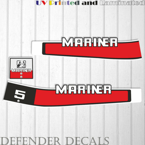Mariner 5 hp outboard engine decal sticker set kit reproduction Two Stoke 1980/'s