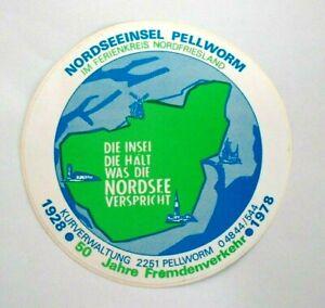 Souvenir-Aufkleber Pellworm Nordsee-Insel Wattenmeer Nord Frisia Sh 1978
