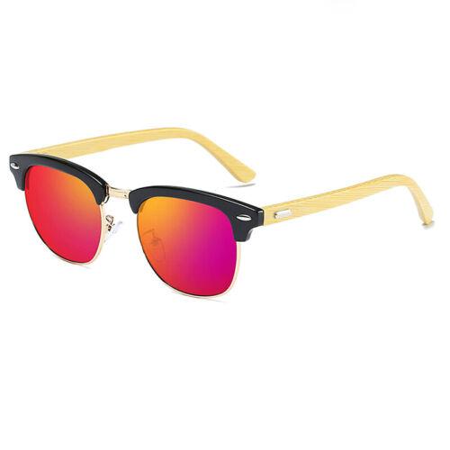 KEITHION Men Womens Polarized Vintage Retro Sunglasses Wooden Frame Glasses