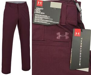 Under-Armour-UA-Threadborne-Tour-Golf-Trousers-Raisin-Red-Straight-Leg