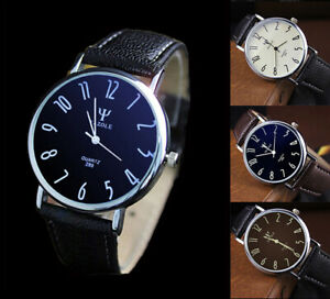 Fashion-Stainless-Steel-Leather-Men-039-s-Business-Sports-Analog-Quartz-Wrist-Watch