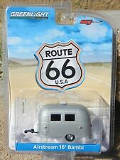 1:64 GreenLight *ROUTE 66* Silver AIRSTREAM 16' BAMBI Camper Trailer HITCH & TOW