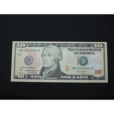 2013 $10 US DOLLAR 2 DIGIT BOOKEND BANK NOTE MB 42600642 B CU UNC UNITED STATES