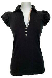 BURBERRY BRIT CLASSIC BLACK POLO SHIRT WITH RUCHED SLEEVES, XS, $245