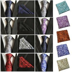Men-Flower-Paisley-Tie-Jacquard-Woven-Necktie-Pocket-Square-Handkerchief-HZ0190