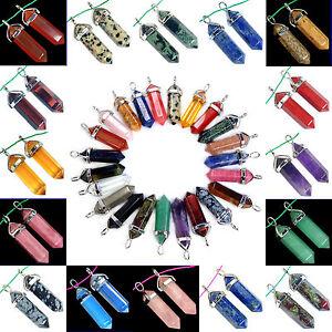 Natural-Gemstones-Hexagonal-Pointed-Reiki-Chakra-Pendant-Beads-Necklace-Earrings