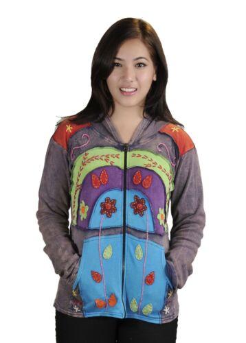 coton en de fleurs coton broderie avec Cardigan et multicolore capuchon en attaché délavé dxoreCWB