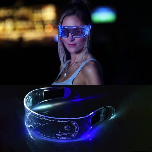 7 Color Cyberpunk Clear Lenses LED Light Visor Glasses Halloween Party Goggles