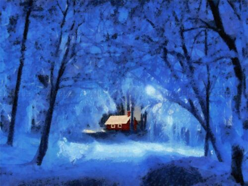 LANDSCAPE PAINTING WINTER SNOW COTTAGE FOREST BLUE LIGHT POSTER BB70A