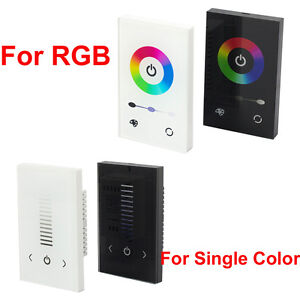 glass touch panel dimmer controller wall switch for rgb single color led strip ebay. Black Bedroom Furniture Sets. Home Design Ideas