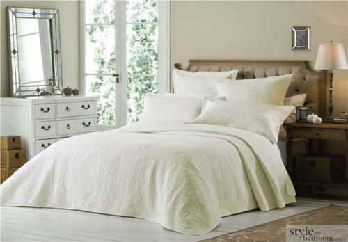 Luxury Double Cream Quilted Embroidered Bedspread Throw 2 Pillow Shams