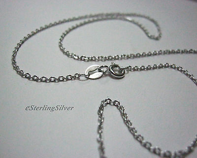 "925 Sterling Silver Cable Link Chain / Necklace - 17.5"" Inches, 1.8 Grams, 1.4mm"