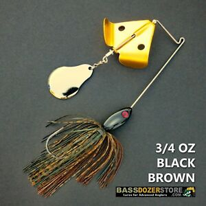 Buzzbait-CHOPPER-3-4-oz-BLACK-BROWN-buzz-bait-buzzbaits-KVD-trailer-hook