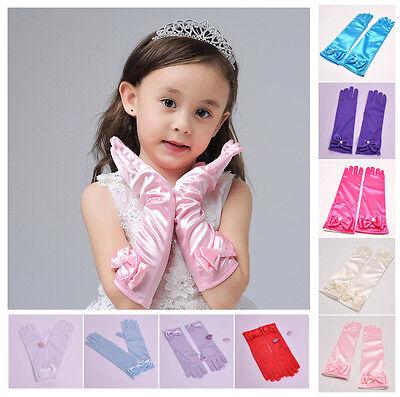pageant Flower Girl Dress Wedding Birthday bridesmaid girl long gloves mittens