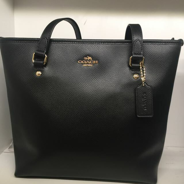41143ae4a2 Coach 57789 Zip Top Tote Crossgrain Leather Handbag Black for sale online