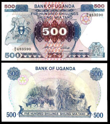UNC Pick 25 UGANDA 500 Shillings 1986