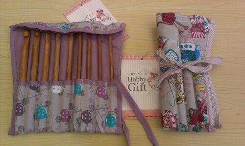 BNWT-Hobby Gift 9 Piece Set-Filled Crochet Hook Roll-Various Designs
