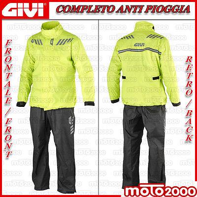 A-Pro Giacca Tuta Moto Antipioggia Impermeabile Antiacqua con Cappuccio FLUO S