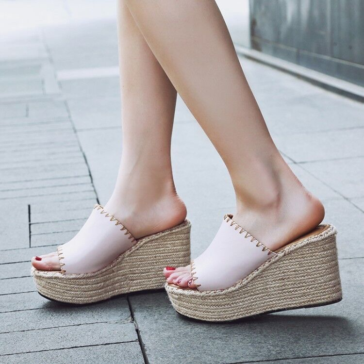 Women Mule Wedge High Heels Platform Slipper Peep Toe Summer Beach Shoes Sandals