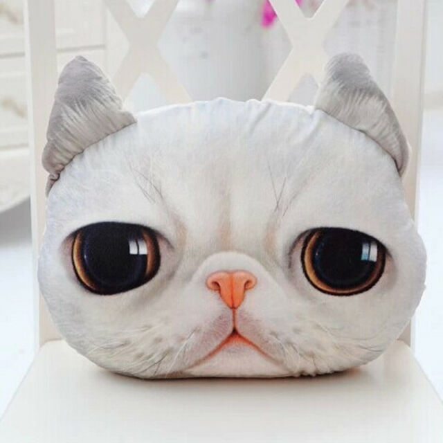 3D Cute Cat Face Soft  Throw Pillow Case Cover Decor Cushion Toy Doll Xmas Gift