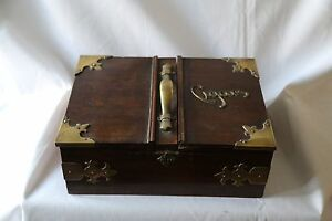 Antique oak cigar case with brass hinges and decorations - <span itemprop=availableAtOrFrom>London, United Kingdom</span> - Antique oak cigar case with brass hinges and decorations - London, United Kingdom