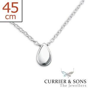 925-Sterling-Silver-Teardrop-Pendant-Necklace-45cm-18-inch