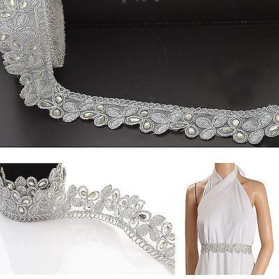 Indian Hand Beaded Bridal Dress Border 9 YD Trim Ribbon Silver COLLECTIBLE EDH